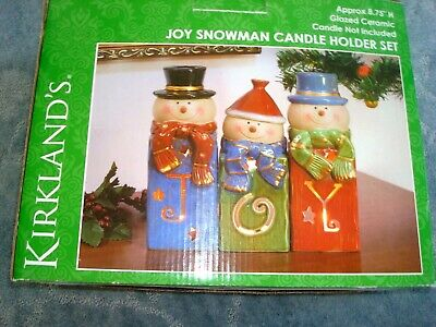 JOY SNOWMAN CANDLE HOLDER SET FROM KIRKLAND'S