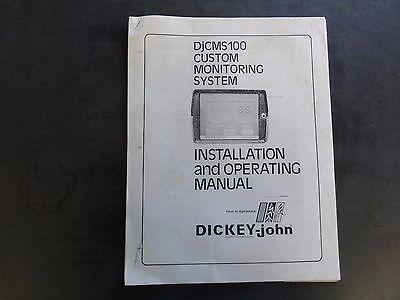 Dickey-john Djcms100 Custom Monitoring System Installation Operating Manual