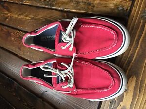 Women's red sperry boat shoes