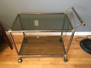 Beautiful vintage Two tier chrome and smoked glass bar cart