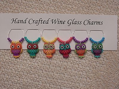 """""""OWLS""""  SET OF 6  HAND CRAFTED Wine glass drink marker Charms"""