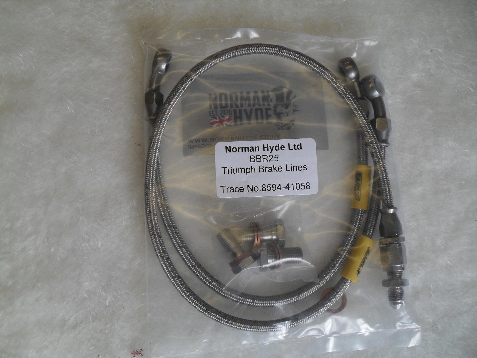 STAINLESS REAR BRAKE HOSE KIT REAR CAL NORMAN HYDE AT BOTTOM T140 T150 T160
