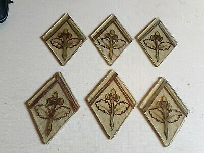 6 x Old small victorian hand painted pieces of glass spares/repairs