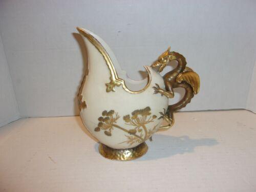 Antique Robert Hanke Austria Dragon-Handled Hand-Painted Ewer