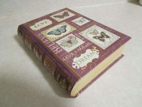 "Book Trinket / Stash Box ""Butterflies Beauty Inspired Love Live Laugh Dream"" NEW"
