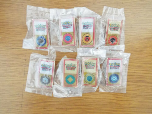 Pokemon League Johto Gym Badges/ Pins *Lot of 8 *HTF* Year 2001 WOTC