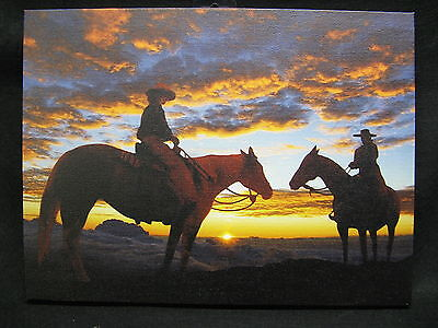 Riding into Sunset Lighted Canvas Wall Decor Sign Cowboy Horse Sun Lights - Light Up Horse