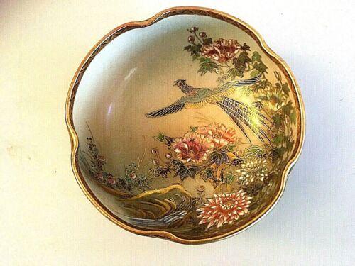 19th Century fine Japanese satsuma pottery bowl with bird in flight  21/533