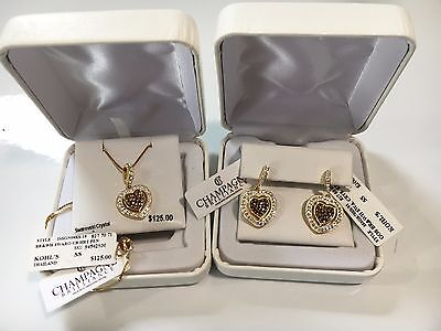 Champagne Brilliance Swarovski Crystals Heart Pendant Necklace & Earrings