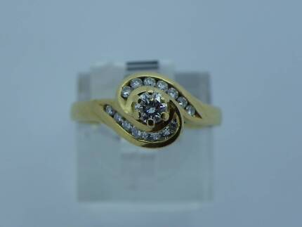 Ladies 18ct Yellow Gold Diamond Dress Ring With Valuation Goodna Ipswich City Preview