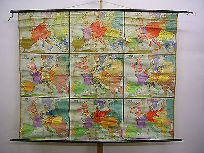 Schulwandkarte Beautiful Old Abendland Europakarte 186x149 Vintage Map~1953