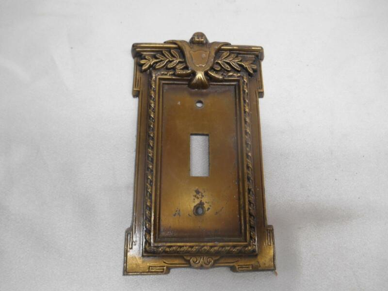 ANTIQUE HEAVY BRASS SINGLE SWITCH WALL LIGHT FACE PLATE COVER ARCHITECTURAL