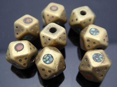 Solid Bronze Inlayed Carnelian Turquoise Cube Tibetan Style One Bead 10mm