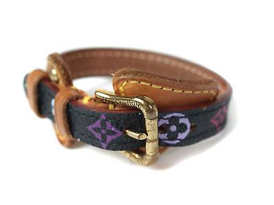Auth LOUIS VUITTON Multicolor Monogram Canvas Leather Bracelet LB13881L
