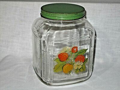 Large Vintage General Store Candy Jar Square Green Metal Lid Fruit Image 1 Galln