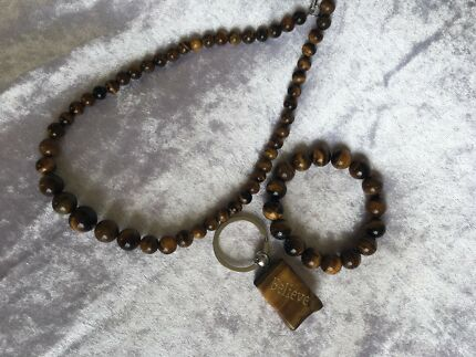 Tiger eye necklace, bracelet and key ring