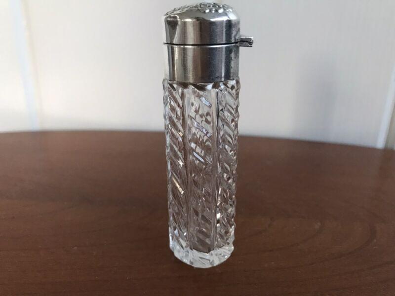 Antique Dresser bottle Crystal Sterling Top Repousse  Hinged Flip Top Perfume/Sc
