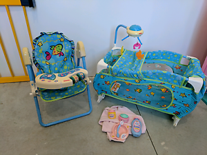 Fisher Price doll highchair and cot/playpen with accessories Karnup Rockingham Area Preview