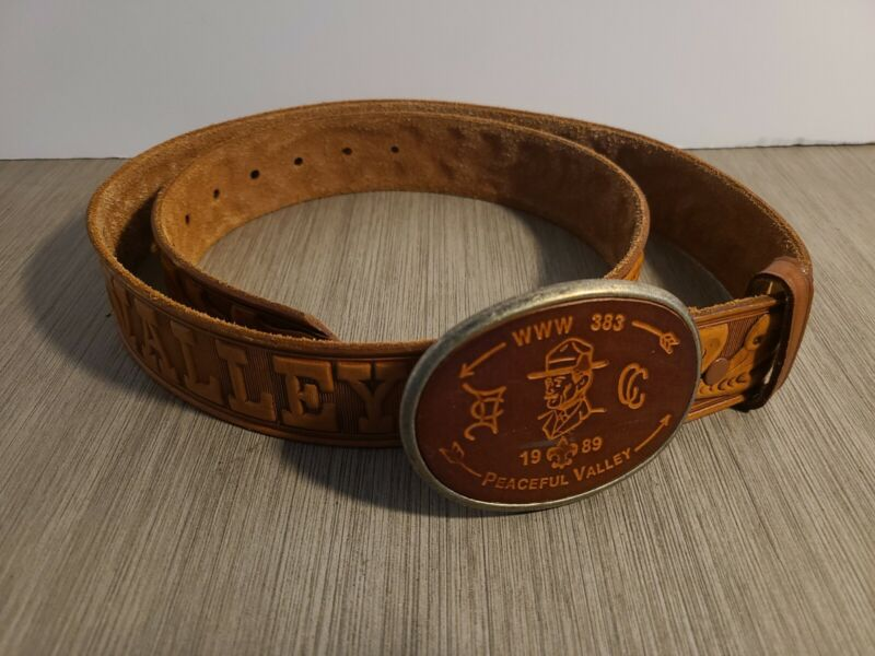 Vintage 1988 Boy Scouts BSA PEACEFUL VALLEY Tooled Leather Belt & Buckle, 40