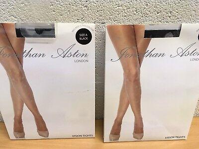 JONATHAN ASTON LADIES TIGHTS VISION BLACK/GREY DOT SMALL NEW 2 PAIRS