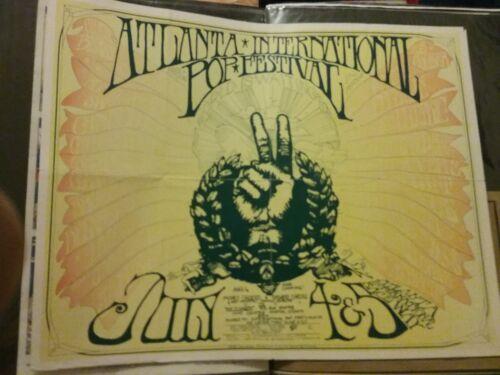 ATLANTA POP FESTIVAL 1969 JOPLIN ZEPPELIN POSTER VG FOLDED RARE PINHOLES FADED!