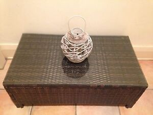 Modern Brown Resin Wicker Outdoor Coffee Table with Glass Top Coogee Eastern Suburbs Preview