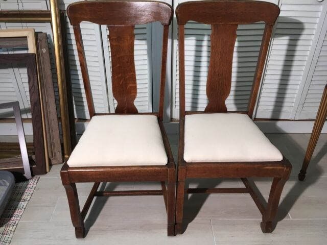 Pair of Vintage Antique Tiger Oak T Back Wood Chairs with New Cushions
