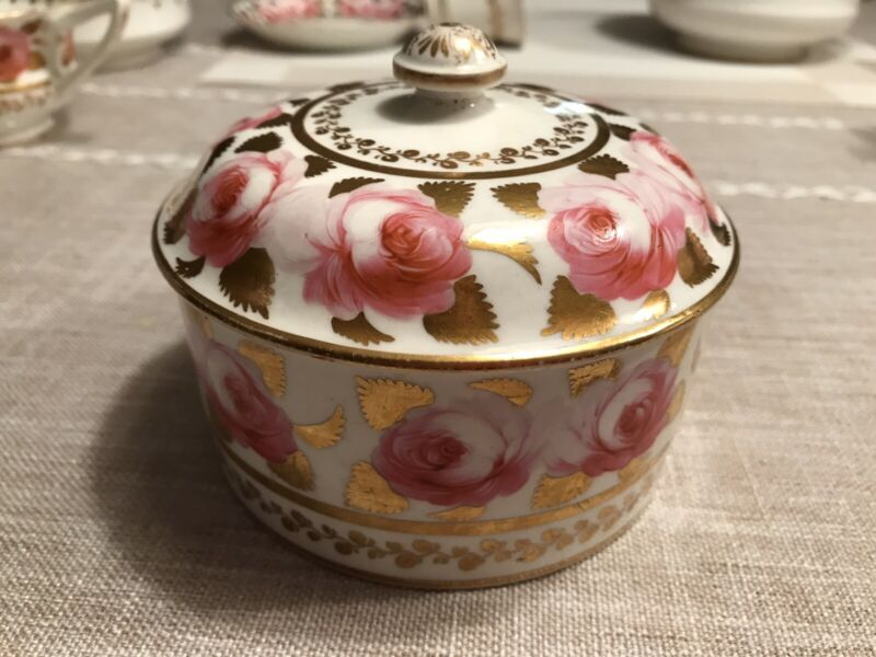 ANTIQUE 1800s SPODE COPELANDS CABBAGE ROSES GOLD Trinket Box Dish