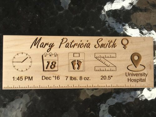 Laser engraved Wood Baby Boy or Girl Birth Announcement, Baby Shower Gift