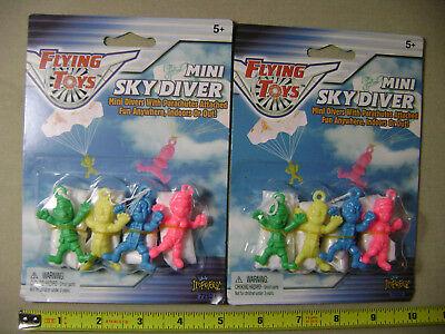 8x Mini Sky Divers Parachute Guys (NEW) Toy Men Party Favors - Parachute Men