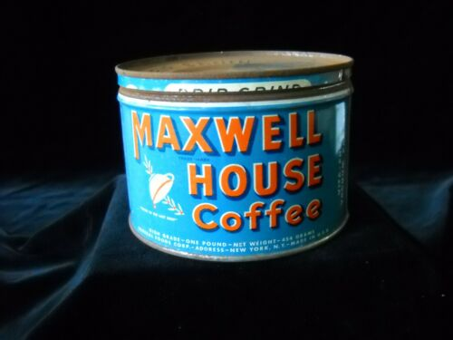 VINTAGE MAXWELL HOUSE 1 LB COFFEE CAN TIN  DRIP GRIND VITA FRESH WITH LID