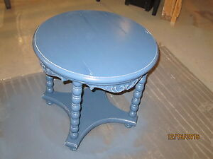 Blue Round Small Decorative Table / End Table