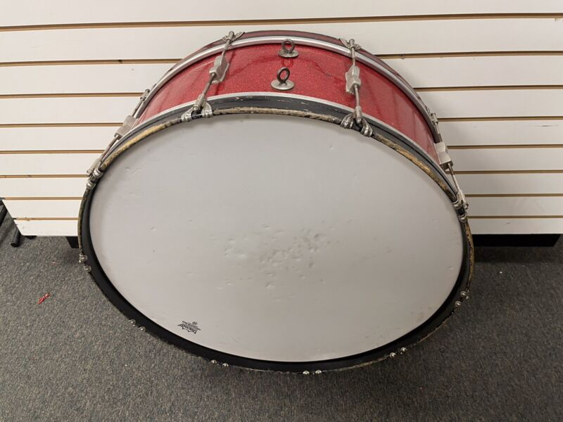 """Vintage Ludwig Red Sparkle 28"""" Bass Drum"""