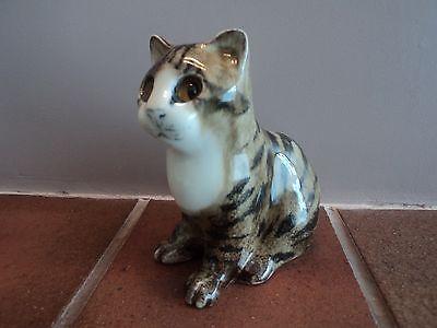VINTAGE (WINSTANLEY-ENGLAND) TIGER BRINDLE CAT/KITTEN - (MINT CONDITION)-UNUSUAL