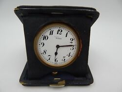 Tiffany & Co. Vintage / Antique 8 Day Travel Alarm Clock Leather Case