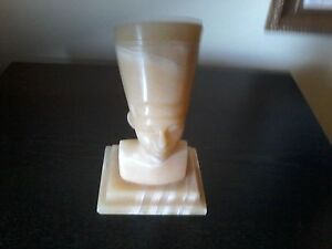 Queen Nefertiti Bust Light Alabaster Stone Carved Marble-Vintage