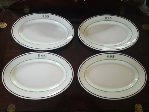 Lot of 4 Walker China Vitrified Bedford Ohio Large Oval Serving Plates Platters