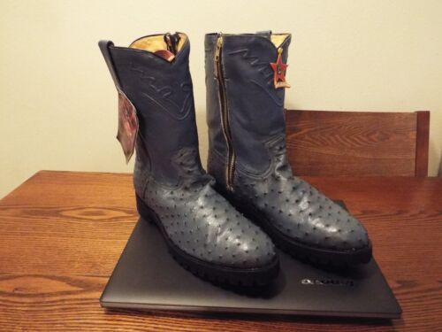 BRAND, NEW, LOS, ALTOS, FULL, QUILL, OSTRICH, BLUE, MENS, COWBOYS, BOOTS, SIZE, 12E