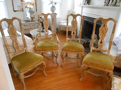 Good Set Of 4 Vintage Drexel Heritage Hand Painted Chinoiserie Dining Room Chairs