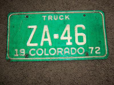Colorado license plate   truck   1972  # za46