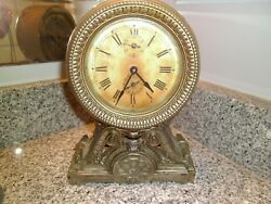 ANTIQUE SETH THOMAS CAST BRASS METAL LONG ALARM MANTLE CLOCK VERY RARE