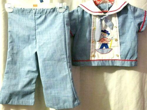 Vintage Baby Boys 2 Piece Outfit Sailor Gondolier 3-6M? see Measurements