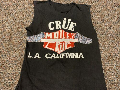 """MOTLEY CRUE vintage 1987 """"LA, California"""" shirt Adult Large cut up tank top"""