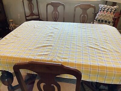 Crate&Barrel Rectangle Tablecloth  Cotton Yellow White Blue Thread 60x84