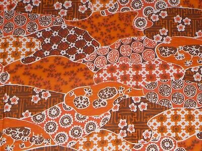 Vintage Hawaiian Tapa Print Orange Yellow; Cotton Fabric Per 1//2 Yd Brown