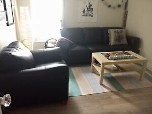 Couch and chair set - black faux leather