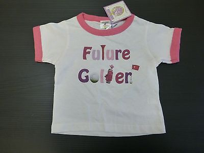Mumsy Goose Shirt Girls Size 2T Future Golfer Pink & White T
