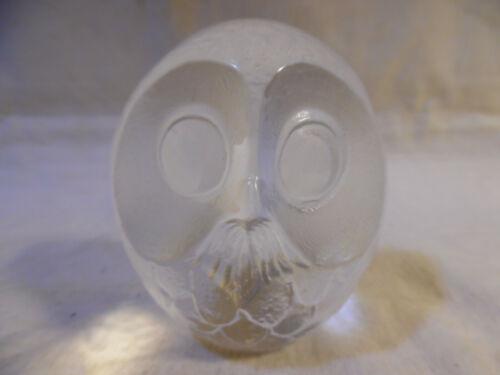 Vintage Paperweight Owl Glass Mats Jonasson Signed