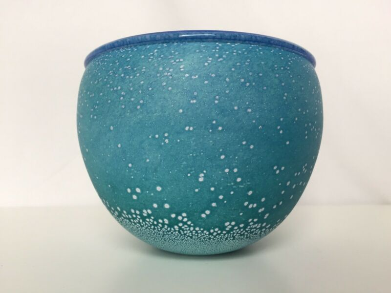 Signed Malcolm Sutcliffe Turquoise Ocean British Studio Art Glass Bowl