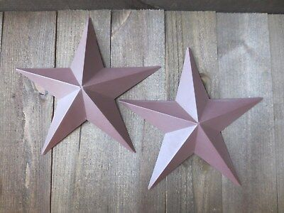 """Lot of 2 Country Primitive 14"""" Burgundy Barn Stars Rustic Wall Decor Dimensional"""